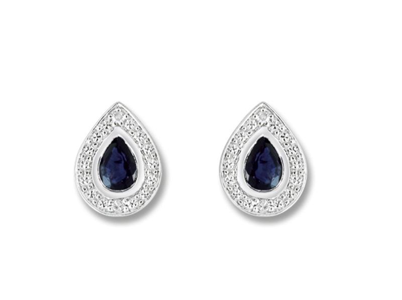 boucles d 39 oreilles gouttes en or blanc saphirs et diamants mn201gsb4. Black Bedroom Furniture Sets. Home Design Ideas